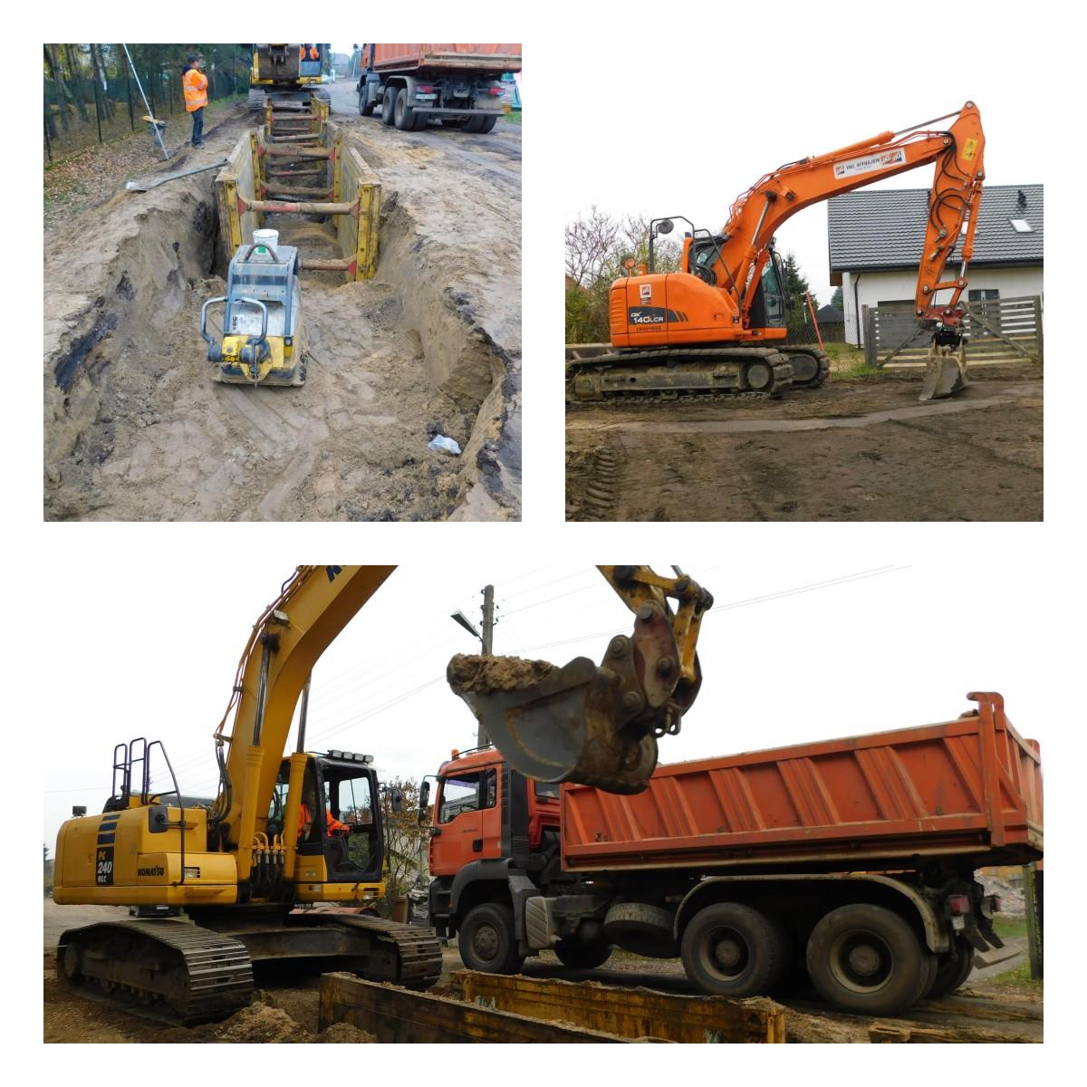 3 zdjęcia, 1 zdjęcie pokazuje urządzenia rozporowe w wykopanym dole obok nich pracownik, drugie zdjęcie pokazuje koparkę zaczynającą pracę, 3 zdjęcie pokazuje koparkę z nabranym piachem z dołu, obok stoi ciężarówka