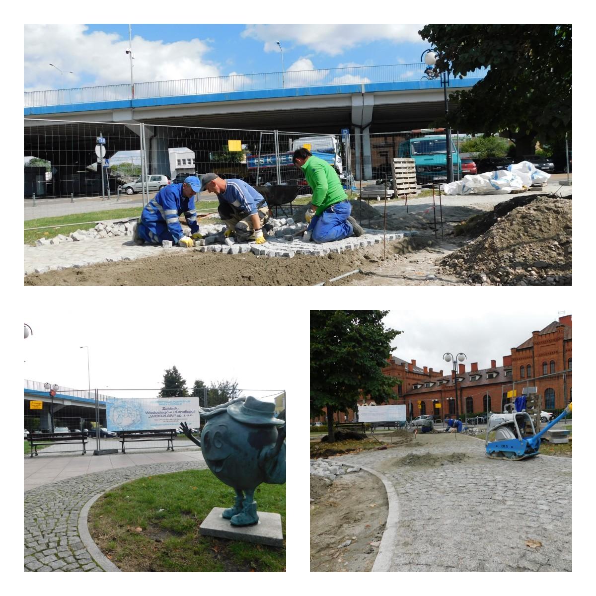trzech pracowników ZWiK Wod-kan kładą kostkę na placu koło dworca, zdjęcie dwa pomnik jabłuszka, zdjęcie trzy koparka na placu dworcowym
