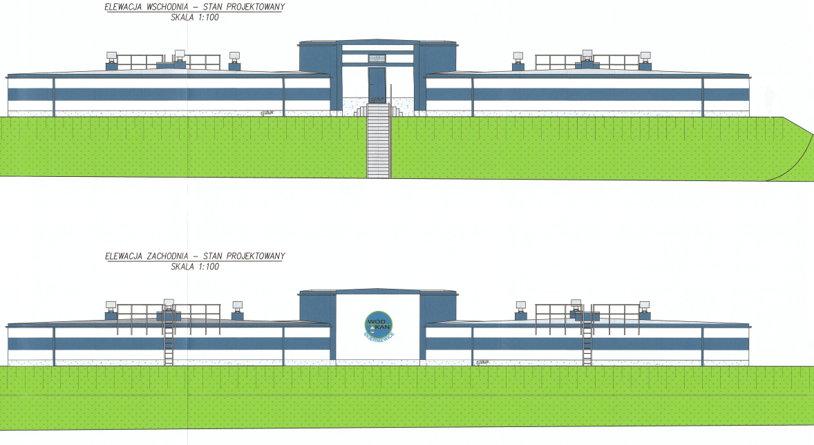 Wizualizacja projektu Stacji Uzdatniania Wody, zdjęcie 1 elewacja wschodnia budynku SUW ze schodami wejściowymi i pasem zieleni, elewacja zachodnia z logo WOD-KAN i pasem zieli