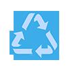 grafika niebieskich strzałek recyklingu, tworzących trójkąt