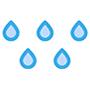 Grafika pięciu niebieskich kropelek wody na białym tle