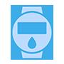 Grafika niebieskiego zegarka z paskiem z białym wyświetlaczem i białą kropelką