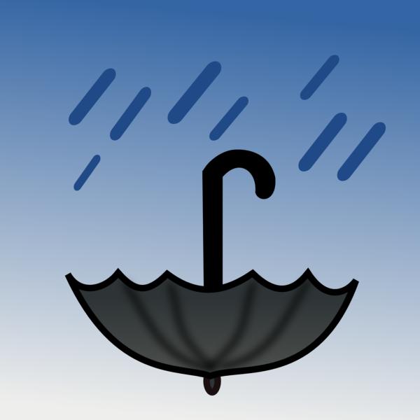 Grafika przychylonej czarnej parasolki i kropl deszczu które na nie padają , Całość obrazka na cieniowanym niebieskim tle