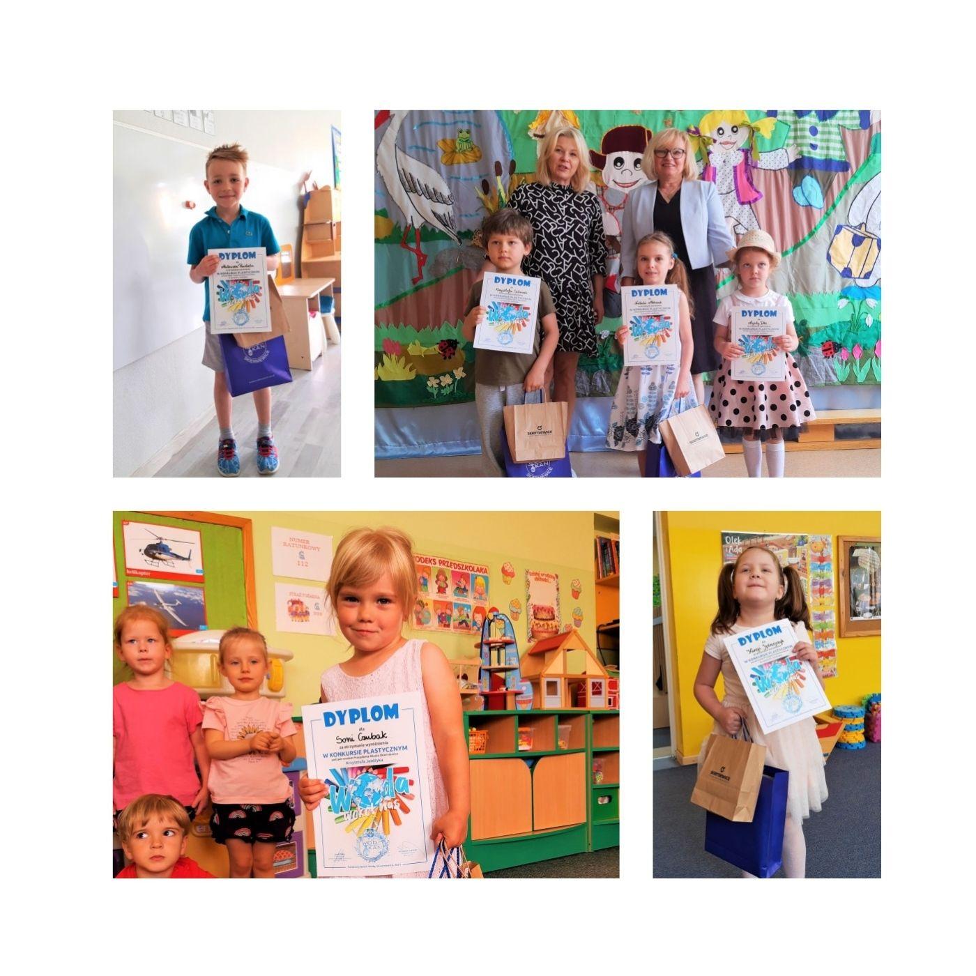 Na zdjęciach uczestnicy konkursu z dyplomami, na jednym stoi chłopiec w niebieskiej koszulce, na kolejnych dziewczynka i chłopiec z nauczycielami upominkami od WOD-KAN i dyplomami, na kolejnym Pani Dyrektor ds. Ekonomicznych Jolanta Gajda wręcza nagrodę osobie wyróżnionej
