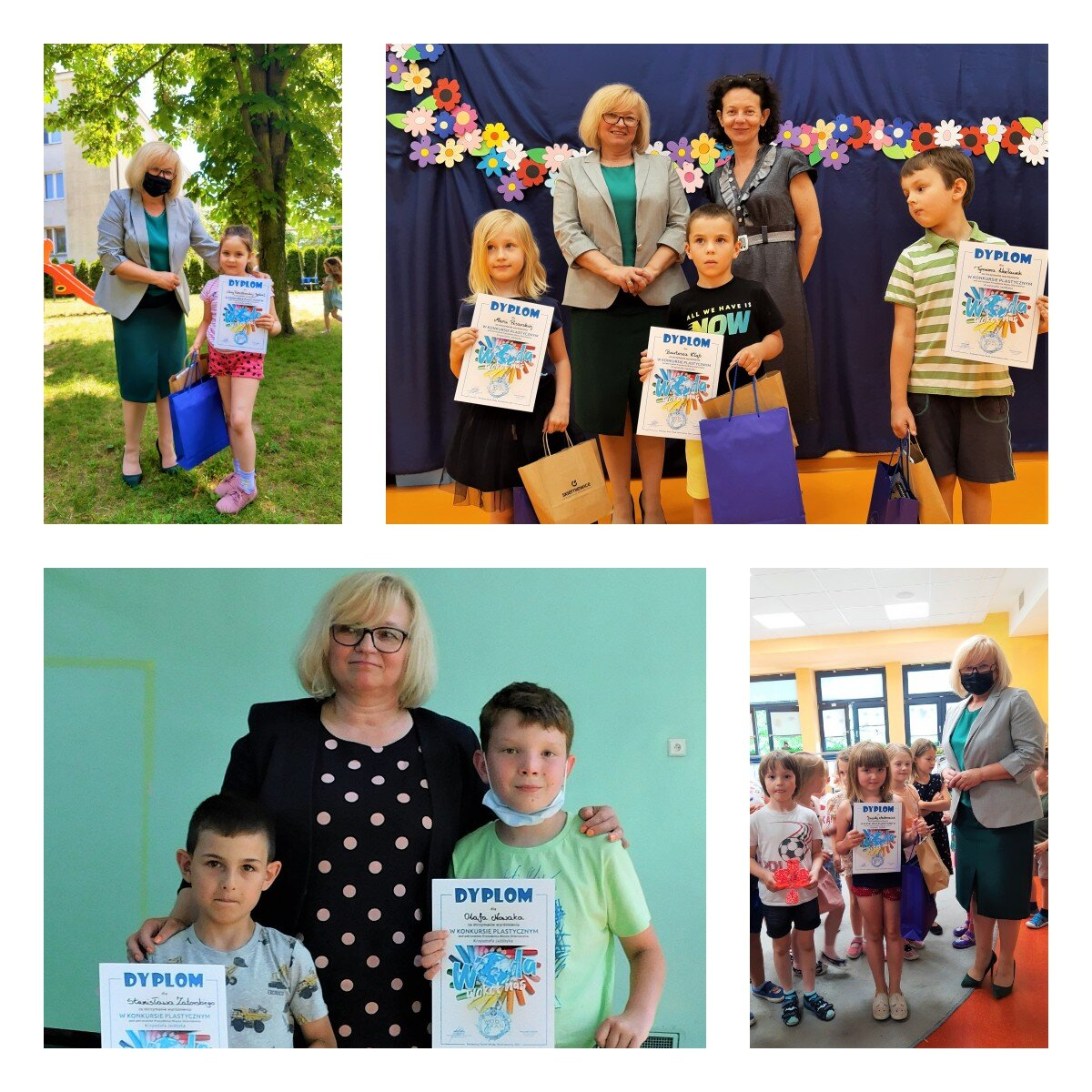 Na zdjęciach Dyrektor ds. Ekonomicznych Jolanta Gajda wręcza nagrody osobom wyróżnionym i pozuje z dziećmi trzymającymi dyplomy