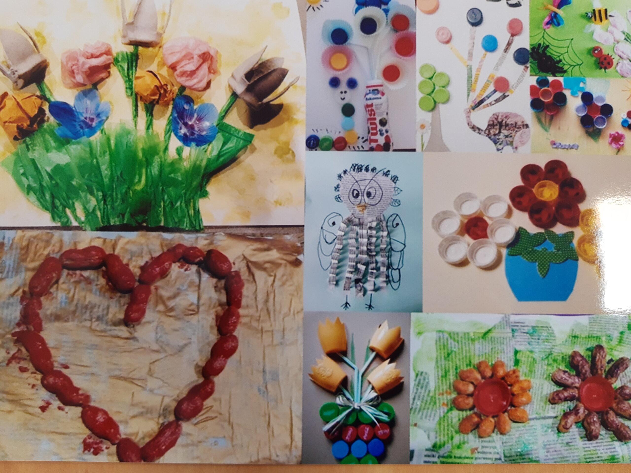 Zdjęcie przedstawia kilka prac dzieci na jednej kolorowe kwiaty zrobione z papieru, na drugiej sowa narysowana i pióra z papieru, na kolejnej tulipany z korków, na nazstępnej pracy kwiatki biało, czerwono, żółte w wazonie z korków na następnej pracy, kwiat z pestek dyni i daktyli, na kolejnej drzewo z kartonu po mleku i korków papieru
