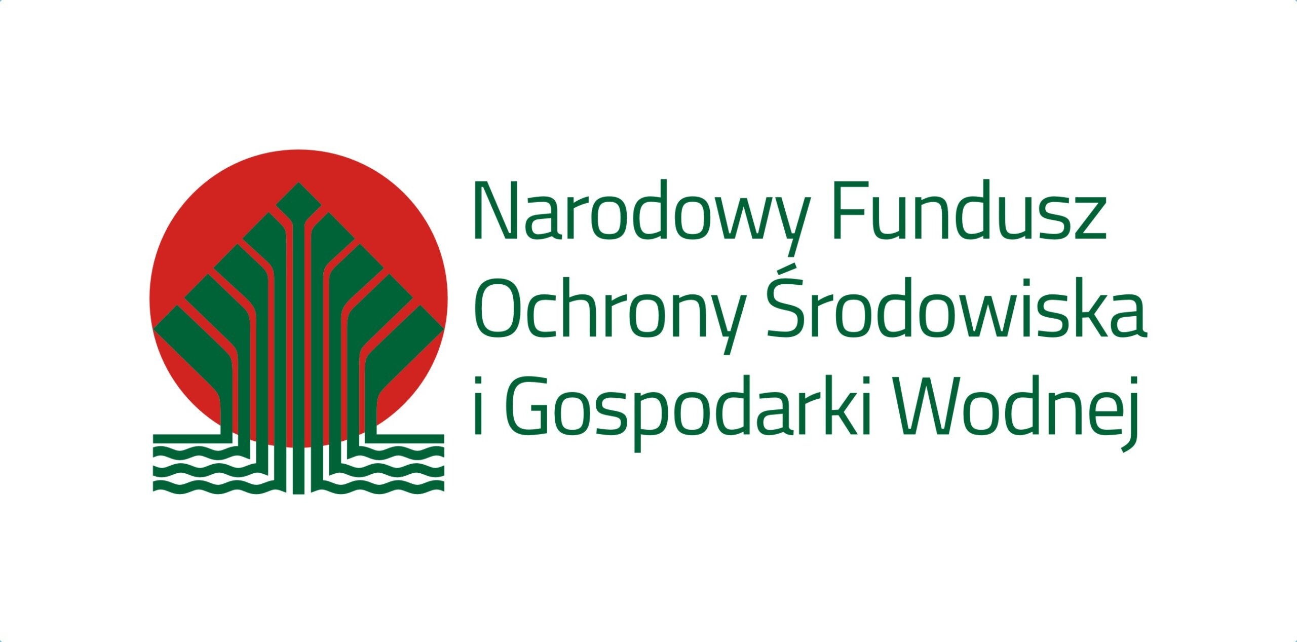 Logo Narodowego Funduszy Ochrony Środowiska i Gospodarki Wodnej, obok zielonego napisu czerwony okrąg z zielonymi