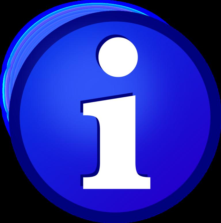 na zdjęciu niebieski znak w środku biała litera i oznaczająca informację