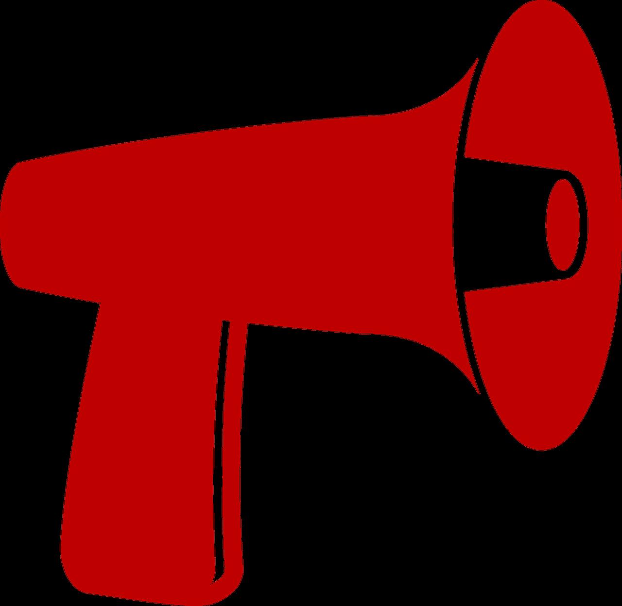 Na zdjęciu czerwony megafon na białym tle