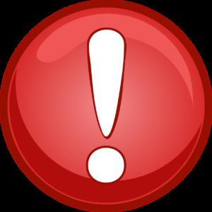 Na zdjęciu czerwony znak w środku z białym wykrzyknikiem