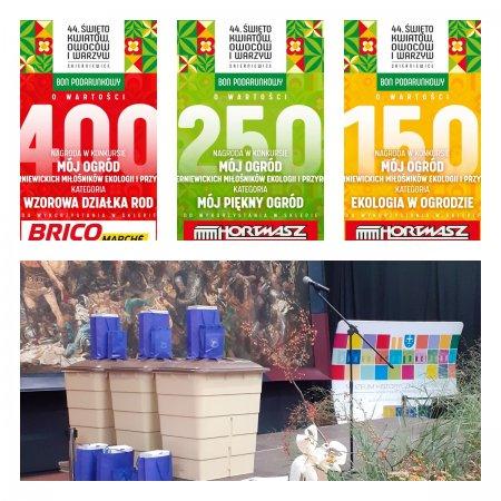 Na zdjęciu bony podarunkowe o wysokosći 400 zł, 250 zł, 150 zł oraz zbiorniki na deszczówkę z torbami upominków